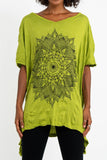 Wholesale Sure Design Women's Lotus Mandala Loose V Neck T-Shirt Lime - $9.50