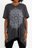 Wholesale Sure Design Women's Lotus Mandala Loose V Neck T-Shirt Silver on Black - $9.50