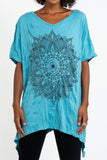 Wholesale Sure Design Women's Lotus Mandala Loose V Neck T-Shirt Turquoise - $9.50