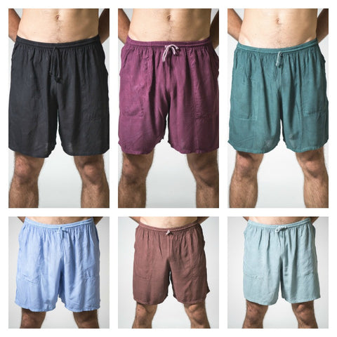 Assorted Set of 5 Solid Color Cotton Drawstring Yoga Shorts