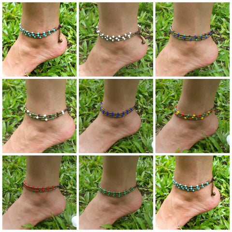 Assorted set of 10 Thai Hill Tribe Anklets Brass Beads And Stones Adjustable