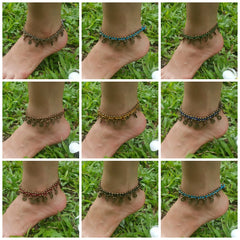 Assorted set of 10 Thai Stone Adjustable Anklets Waxed Cotton With Coins