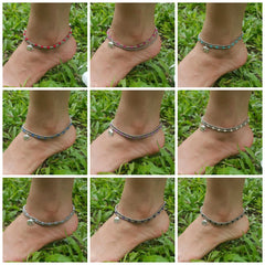 Assorted set of 10 Thai Stone Adjustable Anklets Silver Beads Stones Elephant