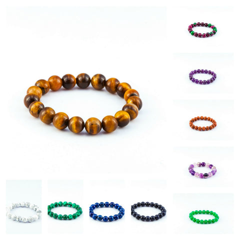 Assorted set of 5 Lucky Stone Hand Made Bracelet Elastic