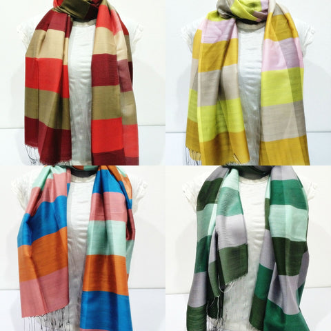 Assorted set of 10 Beautiful Hand Made Pashmina Shawl Scarf Candy Stripe