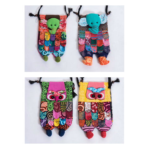 Assorted set of 5 Cute Elephant and Owl Bags