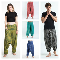 Assorted Set of 5 Hill Tribe Elephants Harem Pants
