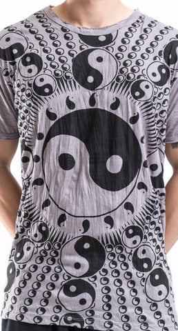 Sure Design Men's Multi Yin-Yang T-Shirt Gray