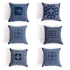 Assorted set of 10 Hill Tribe Indigo Cotton Pillow covers