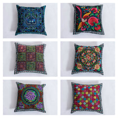Assorted set of 10 Hill Tribe Embroidered Pillow Covers