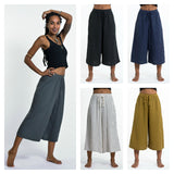 Wholesale Assorted Set of 5 Women's Crinkled Cotton Cropped Pants in Solid Color - $62.50