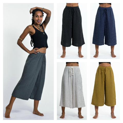 Assorted Set of 5 Women's Crinkled Cotton Cropped Pants in Solid Color