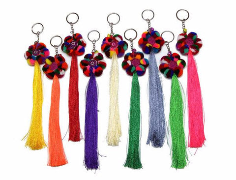 Assorted 10 Piece Set Hand Made Hmong Tassle Key Chain