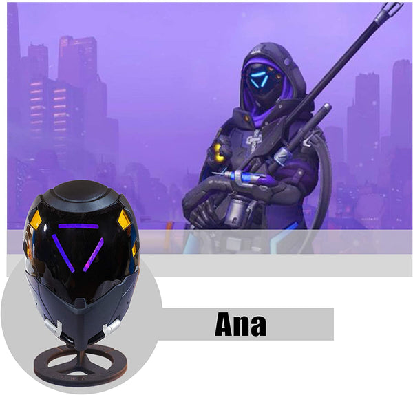 OW Ana Mask Cosplay LED Helmet - Amari Shrike Light-up 1:1 Props Costume Accessory