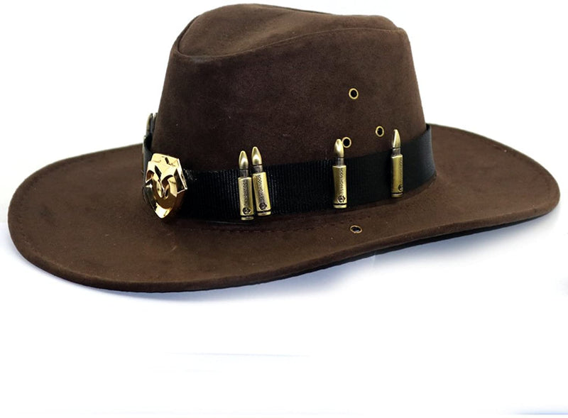 COSTHEME OW Ashe McCree Cosplay Cowboy Hat - Wide Brim Western Gangster Hat Suede Fabric Cap with Strap