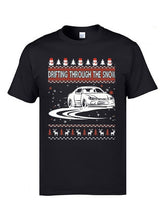Load image into Gallery viewer, Drifting Cars Snow Ugly Christmas Tee