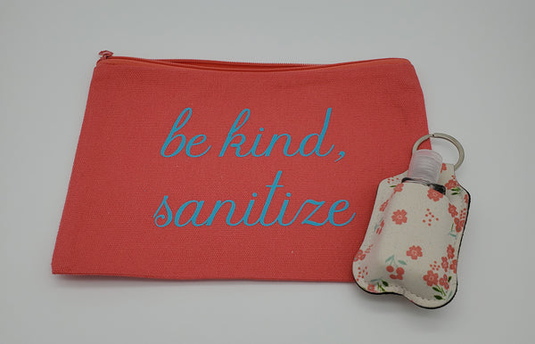 Cosmetic bag with matching sanitizer