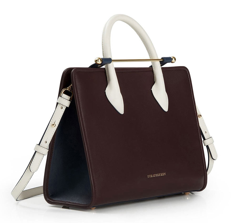 The Strathberry Midi Tote - Tri Colour Burgundy/Navy/Vanilla