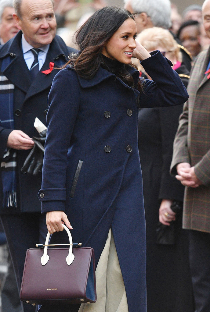 Meghan Markle Carrying The Strathberry Midi Tote Tri Colour Burgundy/Navy/Vanilla