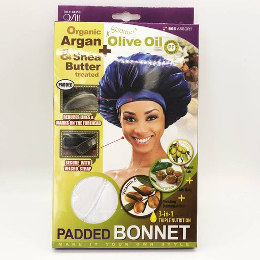 Organic Argan & Shea Butter Treated – Padded Bonnet - Luxe & Glam Beauty Supply