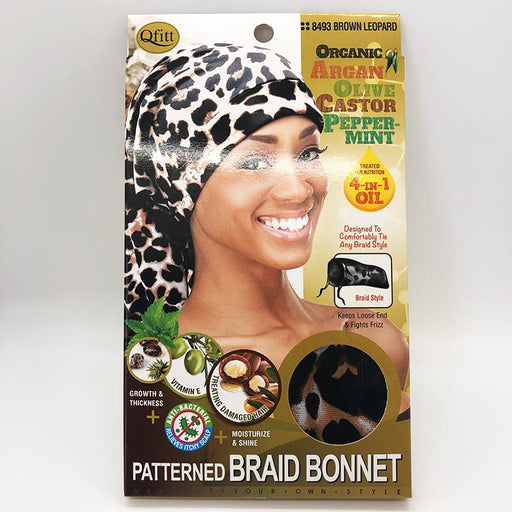 Organic 4 in 1 Oil Infused Pattern Braid Bonnet - Luxe & Glam Beauty Supply