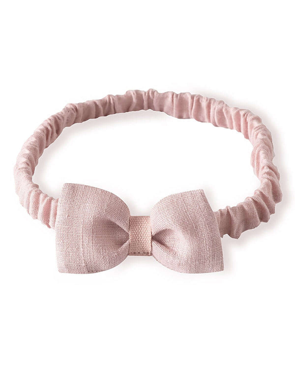 Light pink bow-tie headband with elastic band