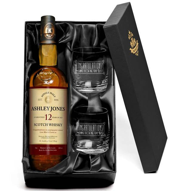 Personalised 12 Year Old Single Malt Scotch Whisky & Tumblers Gift-pack