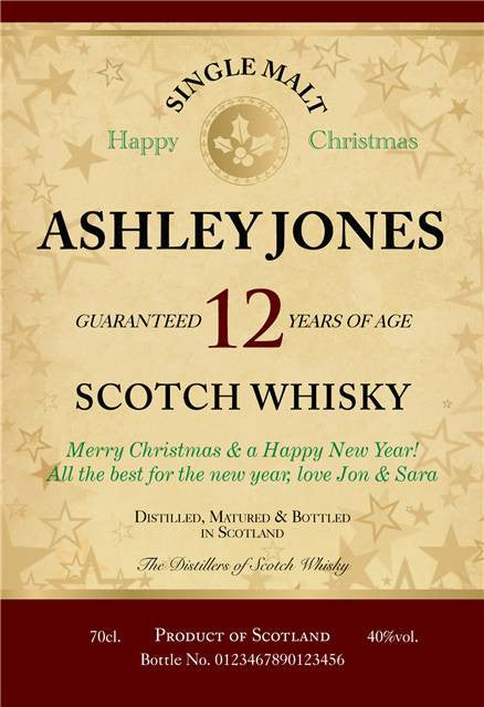 Personalised Christmas 12 Year Old Single Malt Scotch Whisky - Personalised Gift Solutions - 4
