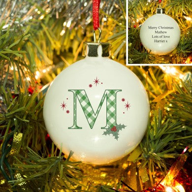 Personalised Bauble, Initial Holly Bone China.