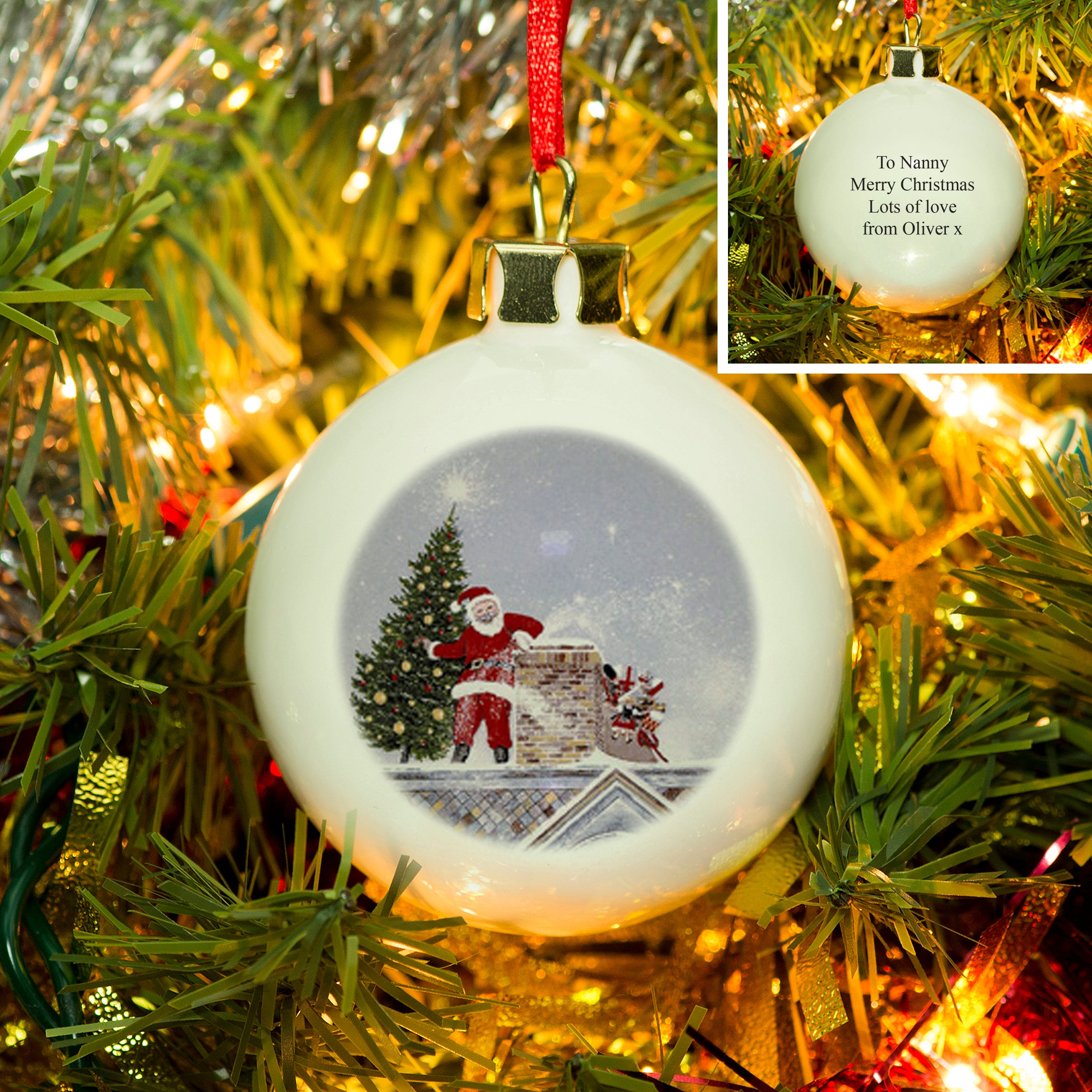 Personalised Bauble, Traditional Santa By Chimney