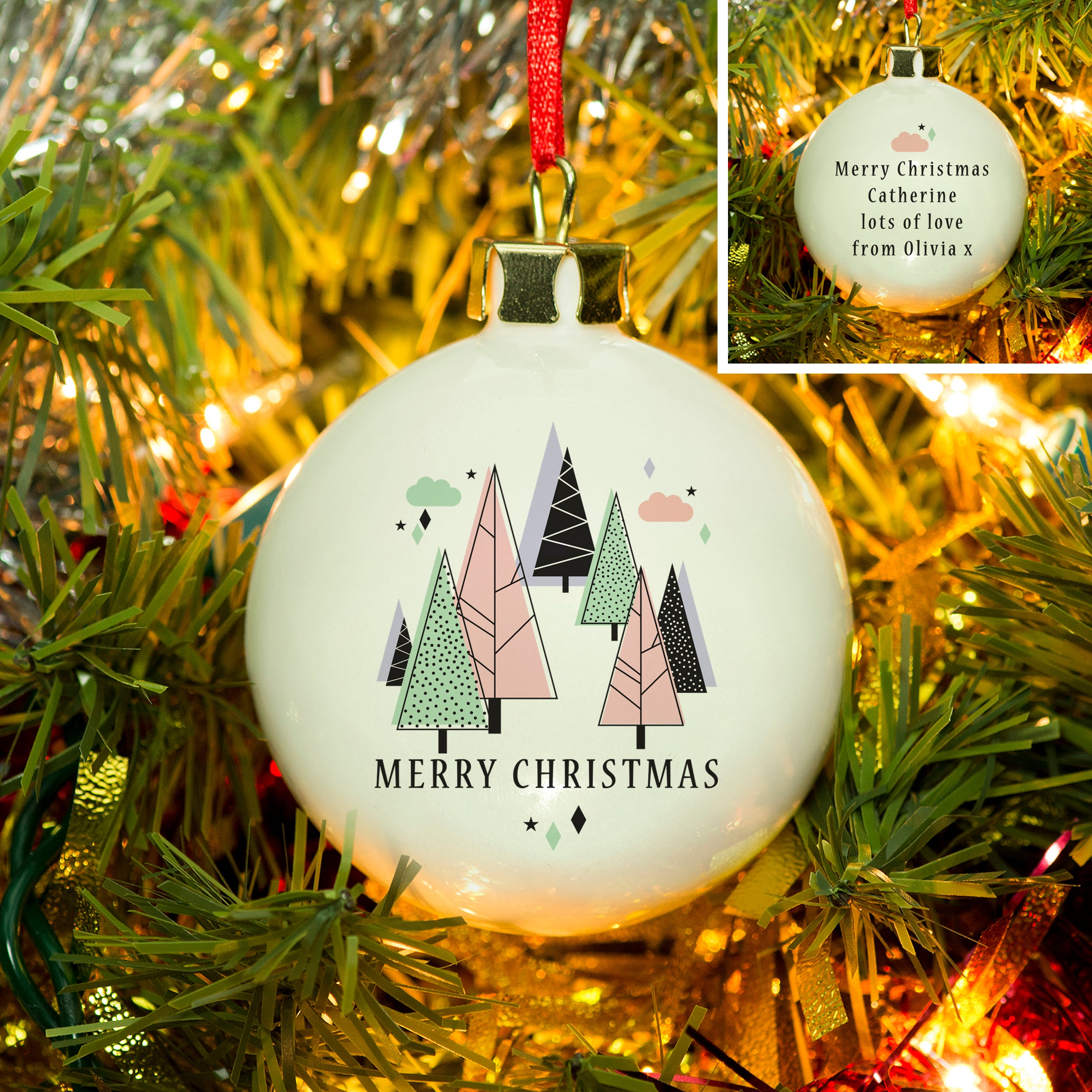 Personalised Bauble, Modern Christmas Pastel Colours