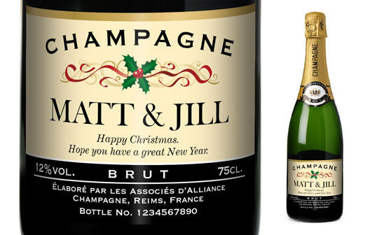 Personalised Christmas Champagne with Festive Label - Personalised Gift Solutions - 1