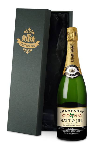 Personalised Christmas Champagne with Festive Label