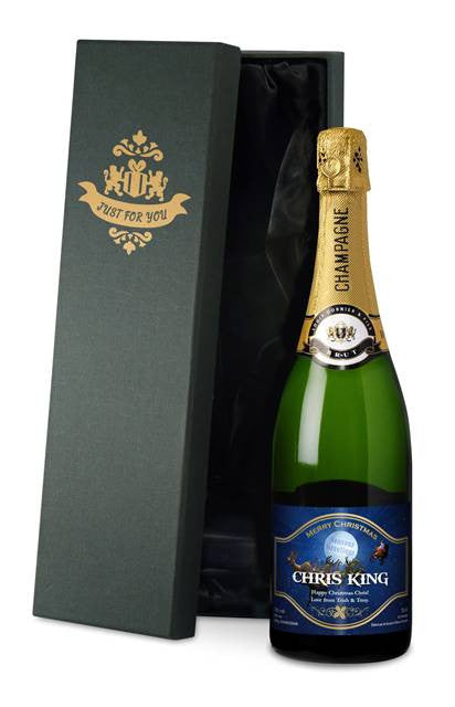 Personalised Christmas Champagne with Santa Label