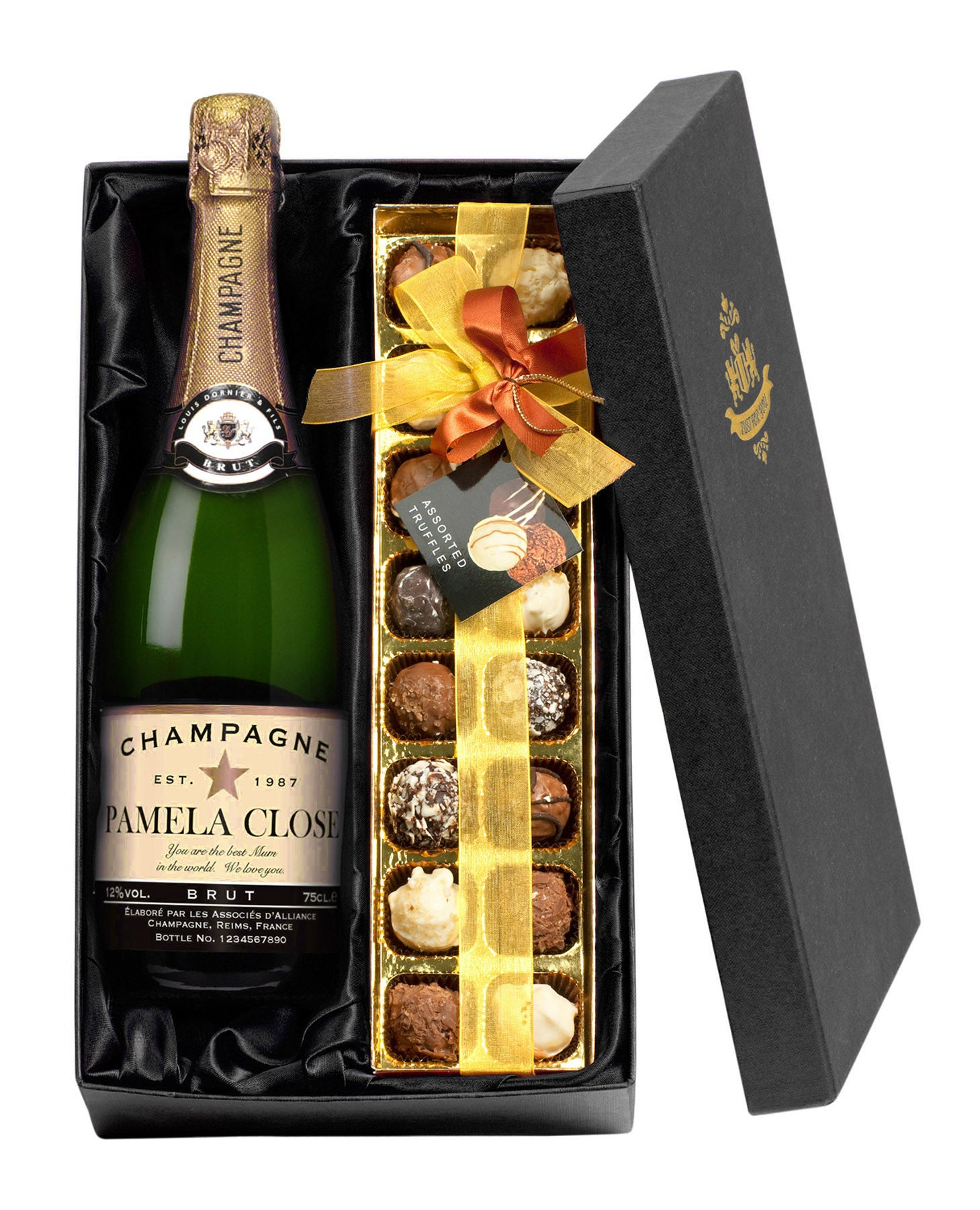 Personalised Champagne with Handmade Chocolate truffles Gift Set