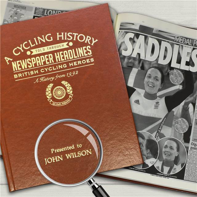Personalised British Cycling History Newspaper Book