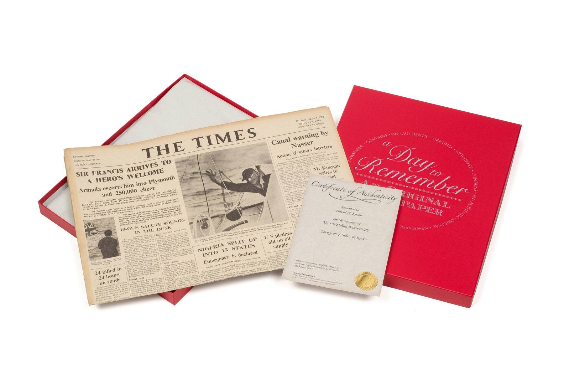 Authentic National Newspaper from a chosen bygone date in a gift box with certificate.