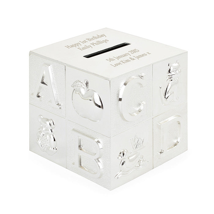 Personalised Silver ABC Money Box - Personalised Gift Solutions - 3