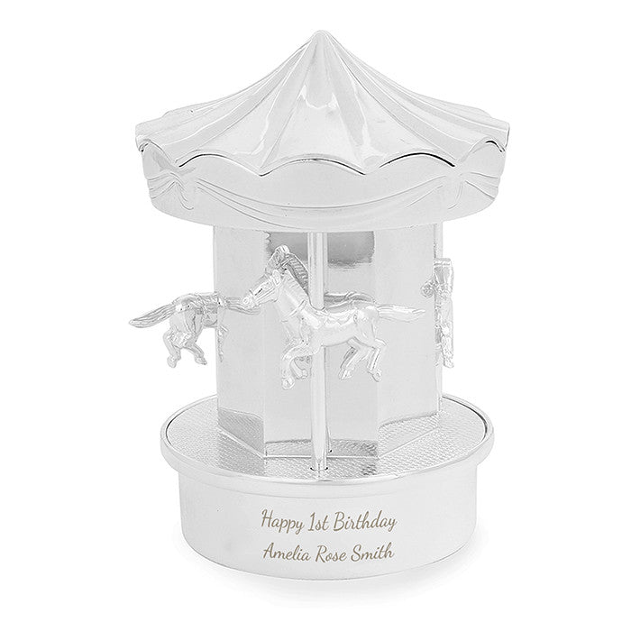 Personalised Silver Carousel Money Box - Personalised Gift Solutions - 4