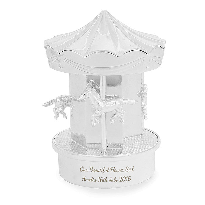 Personalised Silver Carousel Money Box - Personalised Gift Solutions - 3