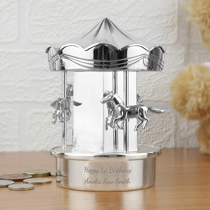 Personalised Silver Carousel Money Box - Personalised Gift Solutions - 1