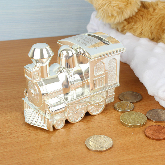 Personalised Silver Train Money Box - Personalised Gift Solutions - 1