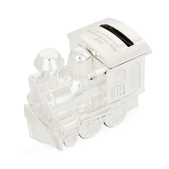 Personalised Silver Train Money Box - Personalised Gift Solutions - 3