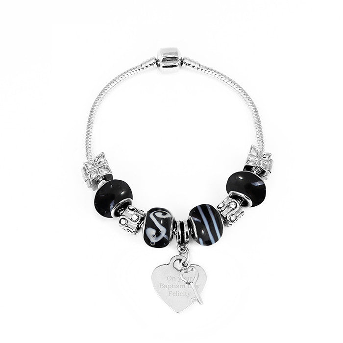 Personalised Galaxy Black Key & Heart Charm Bracelet - Personalised Gift Solutions - 5
