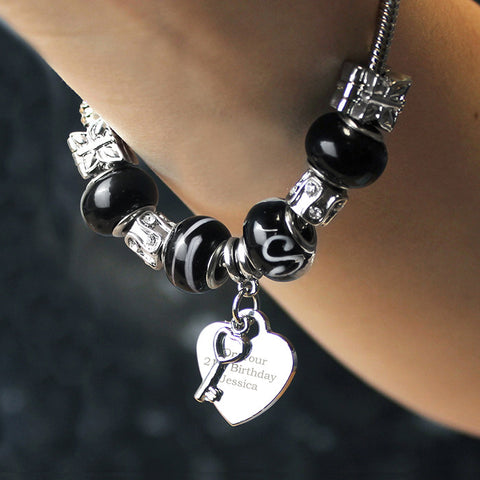 Personalised Galaxy Black Key & Heart Charm Bracelet