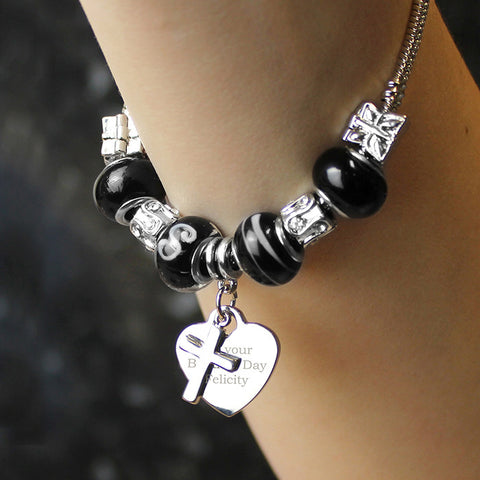 Personalised Galaxy Black Cross & Heart Charm Bracelet