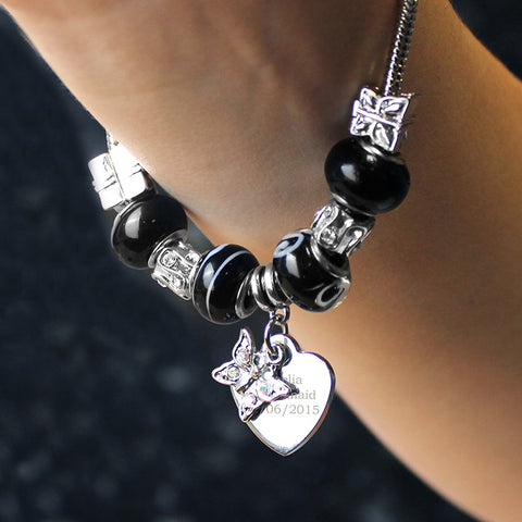 Personalised Galaxy Black Butterfly & Heart Charm Bracelet