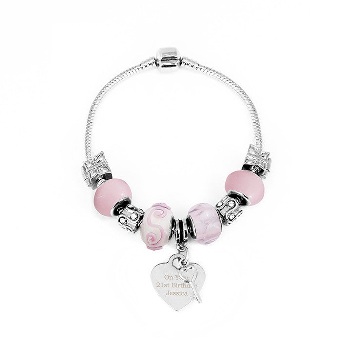Personalised Candy Pink Key & Heart Charm Bracelet - Personalised Gift Solutions - 5