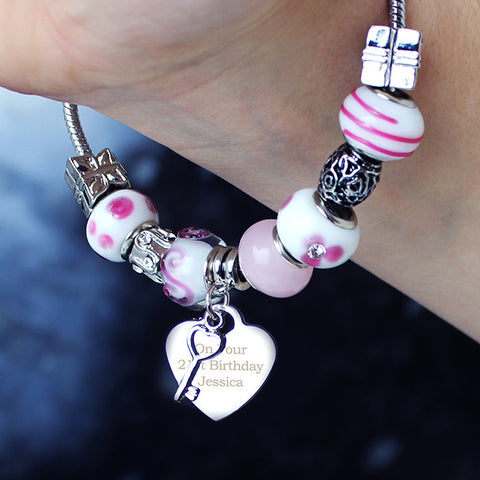 Personalised Candy Pink Key & Heart Charm Bracelet