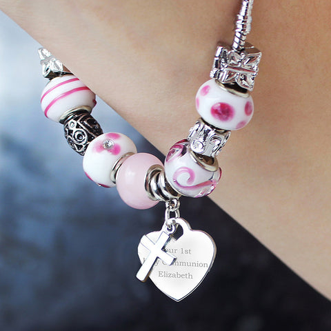 Personalised Candy Pink Cross & Heart Charm Bracelet